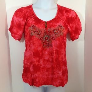 One World Embroidered Orange Smocked Peasant Top.
